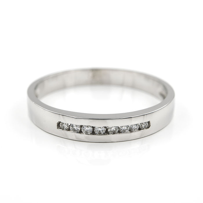 18 kt/750 white gold - Ring - Diamonds, 0.15 ct - Ring size: 14 (Spain)