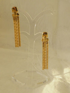 Crown Trifari© - Vintage trifanium earrings with tassels - Signed - 5.4 cm