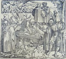 Master of Petrach [Hans Weiditz 1495-1537] - Illustrated post-incunabula leaf with fine woodcut - Sorcery, Magicians, Alchemists, Sacrifice - 1532