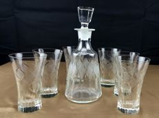 Saint Louis, set of 7 pieces in cut and chiselled crystal
