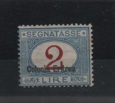 Eritrea 1920/1926 - Postage due 2 lire, light blue and carmine with overprint at the bottom - Sass. No.  22