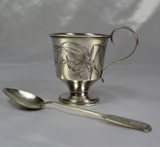 Russian Silver cup, 84, Art Nouveau era, 1910 and one spoon