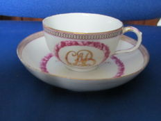 KPM Berlijn -1783 dated cup and saucer with monogram