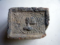 Late medieval fireplace stone 13 x 10 x 9 cm