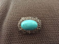 Chinese brooch in 925 silver (filigree) with large turquoise cabochon circa 1930