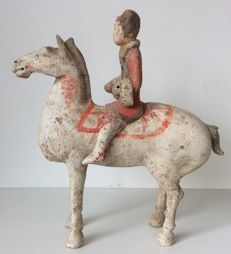 Pottery Horse and Rider - H. 31 cm
