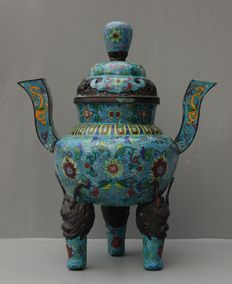Large Cloisonne Tripod Censer - China - late 20th century