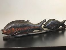 Very large African wood carving of beautifully detailed fish - Africa - second half of the 20th century
