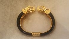 Kenneth Jay Lane - signed 22kt gold plated Elephant Cuff Bracelet