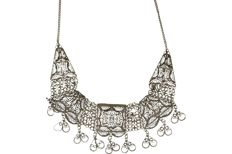 Filigree silver necklace. Length x width: 42.5 x 0.2 cm
