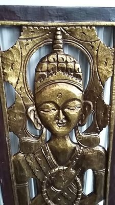 Buddha in wooden panel - Thailand - late 20th century (100 cm)
