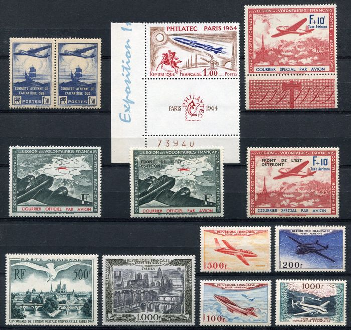 France 1936/64 – Airmail and LVF – Yvert 320 (2x), 1422, Yvert (PA) 20, 29, 30/33, Yvert (LVF) 2/5