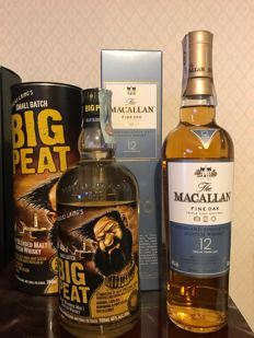 2 bottles - Big Peat &  The Macallan 12 Fine Oak