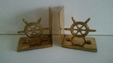 Set of Brass bookends with ship's wheel