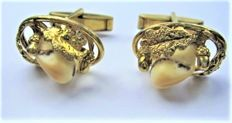 Cufflinks Fishland Ribitz, 835 gold-plated silver with deer teeth and oak leaves