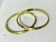 Set Of 2 14K Gold Hand Carved Bangle Bracelets