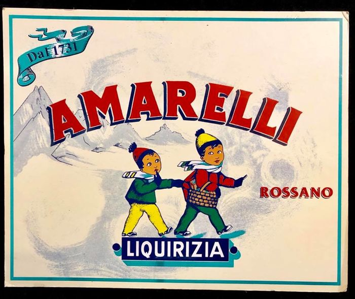 A vintage Italian cardboard advertising , big cartel , AMARELLI , Rossano , Liquirizia , decorated with winter - snow landscape