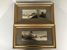Pendant landscapes in gold–coloured frame - Japan - Early 20th century
