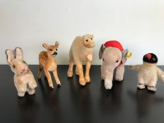 Vintage set of 5 beautiful Steiff animals - 1950s - Germany