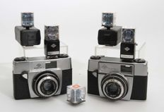 Agfa Silette I with chrome bottom and Agfa Silette I with black bottom 1962 with Agfalux flash cube