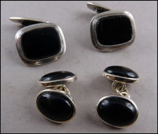2 pairs of silver cufflinks with black onyx stones from Germany
