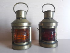 Two old marine brass oil lanterns - France