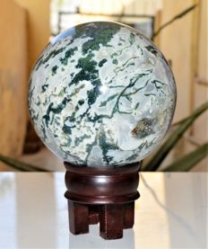 Natural Green Moss Agate Crystal Sphere Ball - 12 cm - 2280 gm