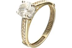 14 kt Yellow gold ring richly set with zirconia. – ring size: 16.5 mm