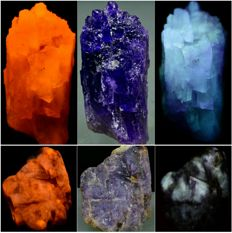 Extreme Rare Sodalite var Hackmanite Specimens - Fluorescent/Tenebrescent/Phosporescent - approx. 31x22.5x13 mm each - 145 ct (2)