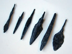 6 high-quality medieval arrowheads from the age of the Crusaders - Hand bow - approx 6.1/4.3 mm - (6)