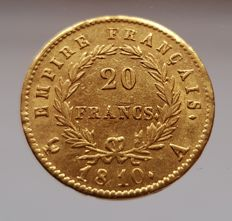 France - 20 Francs 1810 A (Paris) - Napoleon I - gold