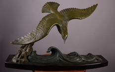 """Dautrive - Sculpture in bronze on marble """"The Seagull"""" - Art Deco"""