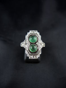 Art Deco marquise ring, emeralds and diamonds