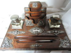 Complete wooden ink set with silver fittings - Portugal - ca. 1900