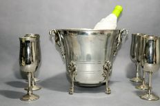 Ice bucket with six chalices (silver plated)