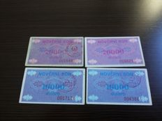 Bosnia-Herzegovina - 56 banknotes - 580.000 DINARA, Pick 52 and Pick 52A