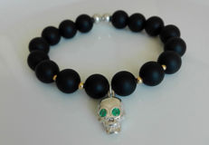 Emerald & Black Onix  Solid Gold & Silver Refined Bracelet