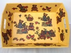 Large wooden bear tray