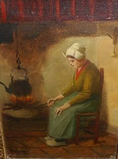 Hendrik van Langen - ( 1874-1964 ) - A cooking female