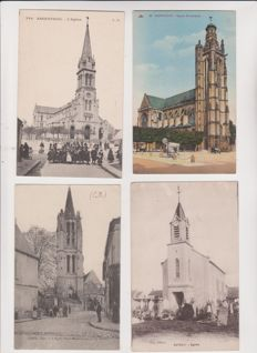 Very fine lot of 200 old postcards of churches of France and Europe