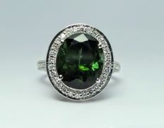 A 6.53ct green Tourmaline and Diamond ring. ***No Reserve***.