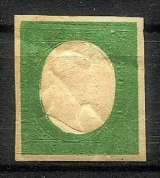 Sardinia 1854 - 5 cent. dark olive green, not issued - Sass. no. 10