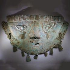 Sican Life-size Lambayeque Copper Funerary Mask - W. 36,5 cm - H. 21,0 cm