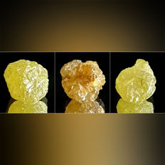 Lot of African Yellow Diamond - approx. 7.1x5.8x4.8 mm each - 5.13 ct (3)