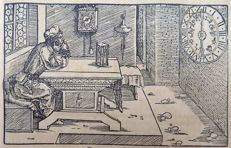 Master of Petrach [Hans Weiditz 1495-1537] - Illustrated post-incunabula leaf with fine woodcut - The Passing of Time; Clock; Wall Clock; Hourglass - 1532