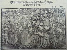 Master of Petrach [Hans Weiditz 1495-1537] - Woodcut. Medieval Dancing, Dancers, Musicians, Bagpipes - 1544