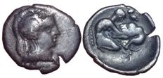 Greek Antiquity - Calabria, Tarentum c. 450-380 BC - AR Diobol (Silver, 13/12mm; 0,95gm.) - Head of Athena / Heracles - Vlasto 1323-4; SNG ANS 1413