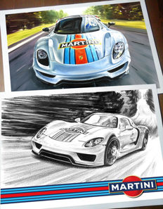 Porsche 918 Spyder Martini Racing Race Car - 2 Art Prints Posters - Hand signed by Artist Andrea Del Pesco + COA.