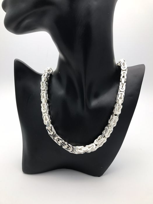 Byzantine chain made of 925 silver, approx  8 x 8 mm, 60 cm long, unisex,  solid - Catawiki