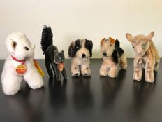 Vintage set of 5 beautiful Steiff animals - 1950s-70s -Germany